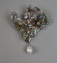 Silver enamel stone set Art Nouveau style pendant brooch