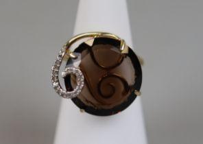 Gold topaz & diamond set ring (size K½)