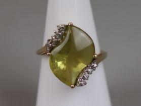 Gold lemon quartz & diamond set ring (size N)