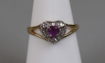 Gold amethyst & diamond ring (size L¼)