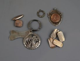 Collection silver to include cufflinks & medallion etc