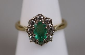 18ct gold diamond & emerald cluster ring (size P½)