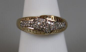 Gold diamond set ring (size N¼)