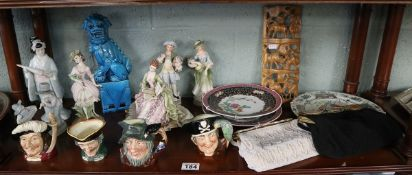 Shelf of ceramics to include Royal Doulton toby jugs etc