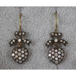 Pair of pearl & diamond heart shaped drop earrings