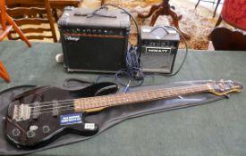 Yamaha bass guitar, Vantage amp & Hiwatt amp