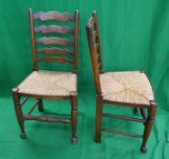 Set of 6 ladder-back rush-seated dining chairs