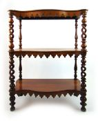 A Victorian rosewood three tier etagere,