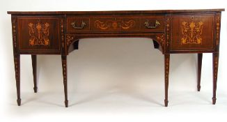 A late 18th century and later mahogany, marquetry,