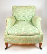 A mid 20th century Howard & Sons armchair covered in 'H & S' ticking on square section tapering