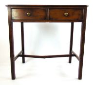 An 18th century mahogany two drawer side table,
