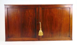An early 19th century rosewood and boxwood strung wall hanging cabinet,