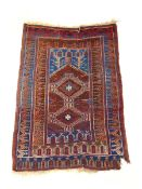 A handwoven Turkish prayer rug, the multi line border surrounding the niche with two diamonds,