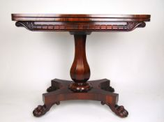 A William IV rosewood card table,