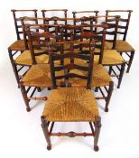 A harlequin set of ten 18th century ash chairs,