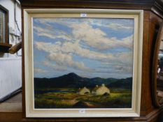 A framed oil on canvas of cottage by lake scenes, possibly by L.