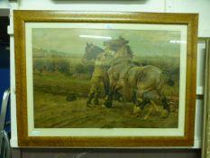 A birds eye maple framed and glazed coloured print of work horses