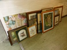 A selection of framed prints, tapestry, canvases etc.