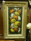 A framed oil on canvas of chrysanthemums,