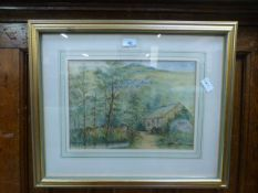 A framed and glazed watercolour of water mill in woodland scene,