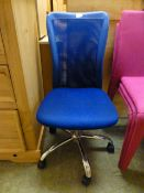 A blue upholstered,