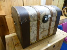 A modern domed topped trunk with map design