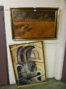 A framed oil of church interior along with a framed print of ploughing scene