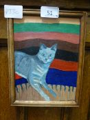 A small oil on board of comical cat signed bottom right Helen 1984