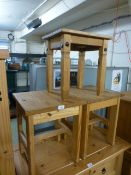 Three pine occasional tables
