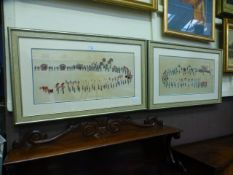 A pair of framed and glazed Chinese paintings on silk of processions CONDITION REPORT: