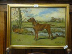 A gilt framed oil on canvas of a dog,