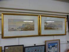 19th century British school, waterside fishing scenes, signed indistinctly, watercolour,