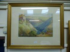 Frank Harper (1878-1929), A valley scene, unsigned, watercolour,