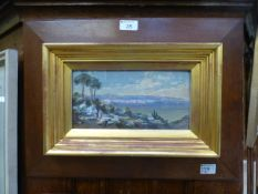 Charles Edmund Rowbotham (1856-1921) Mediterranean coastal scene with figures on a