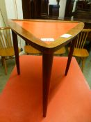 A mid 20th century teak Formica topped occasional table