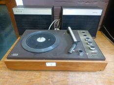 A Philips turntable with two speakers