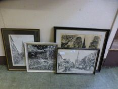 Four framed and glazed monochrome etchings and prints of buildings etc.