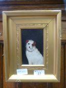 A gilt framed oil on board of Caesar - King Edwards favourite dog,