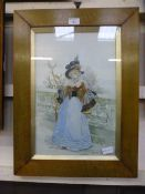 A framed and glazed 19th century painting on glass of lady in period dress