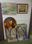 A selection of framed and unframed prints and paintings