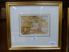 A framed and glazed watercolour of street scene,