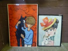 Two mid 20th century artwork's,