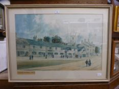 A framed and glazed watercolour of Moseley village 1870,