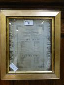 A framed and glazed print on silk of a programme for the amateur theatricals of Jesus college