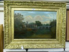 An ornate gilt framed oil on canvas of river by town scene,