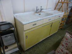 A mid 20th century Hygena enamelled sink unit