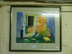 A framed and glazed pastel titled 'A view from the bath' by Pat Carpenter