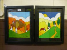 A pair of framed and glazed paintings signed Lesley dated 2014