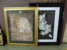 A framed and glazed Egyptian print along with a framed and glazed monochrome of daffodils