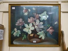 A framed and glazed print of still life after Wilf Walker